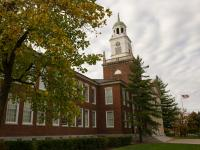 Rockwell Hall framed by trees