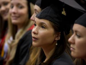 Attentive students at commencement ceremony