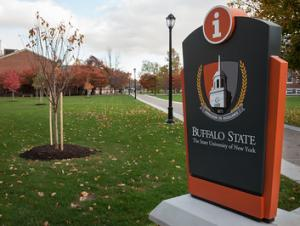 Buffalo State crest mark logo on an exterior sign